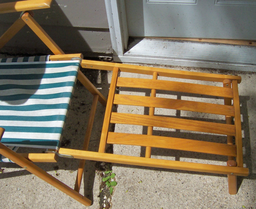 Vintage Telescope Wood Amp Canvas Folding Beach Pool Deck